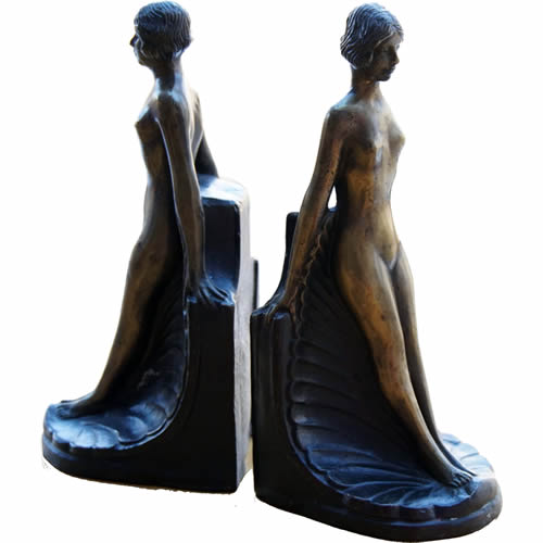 Art Deco Nude Lady Bookends