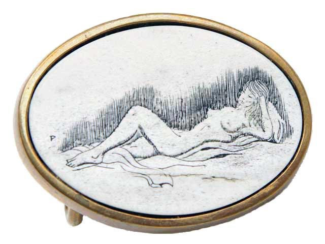 Brass Buckle with hand etched scrimshaw of reclining nude woman by Pierce