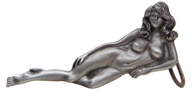 Pewter naked woman with large breasts buckle