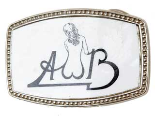 Vintage Silvertone buckle with AWB and nude womans back in the W