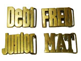 Vintage Baron Solid brass Name buckles: Debi, FRED, Junior and MAT