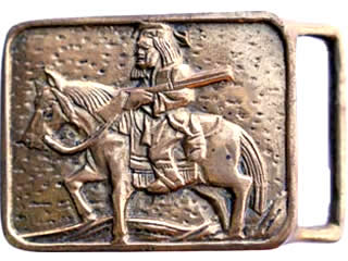 Man on Horse with Rifle brass buckle