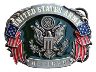US Army Retired with colored epoxy inlay buckle by Siskiyou