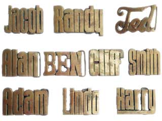 Vintage Baron Solid brass Name buckles: Jacob, Randy, Ted, Alan, Ben, Cliff, Smith, Adam, Linda and Harry