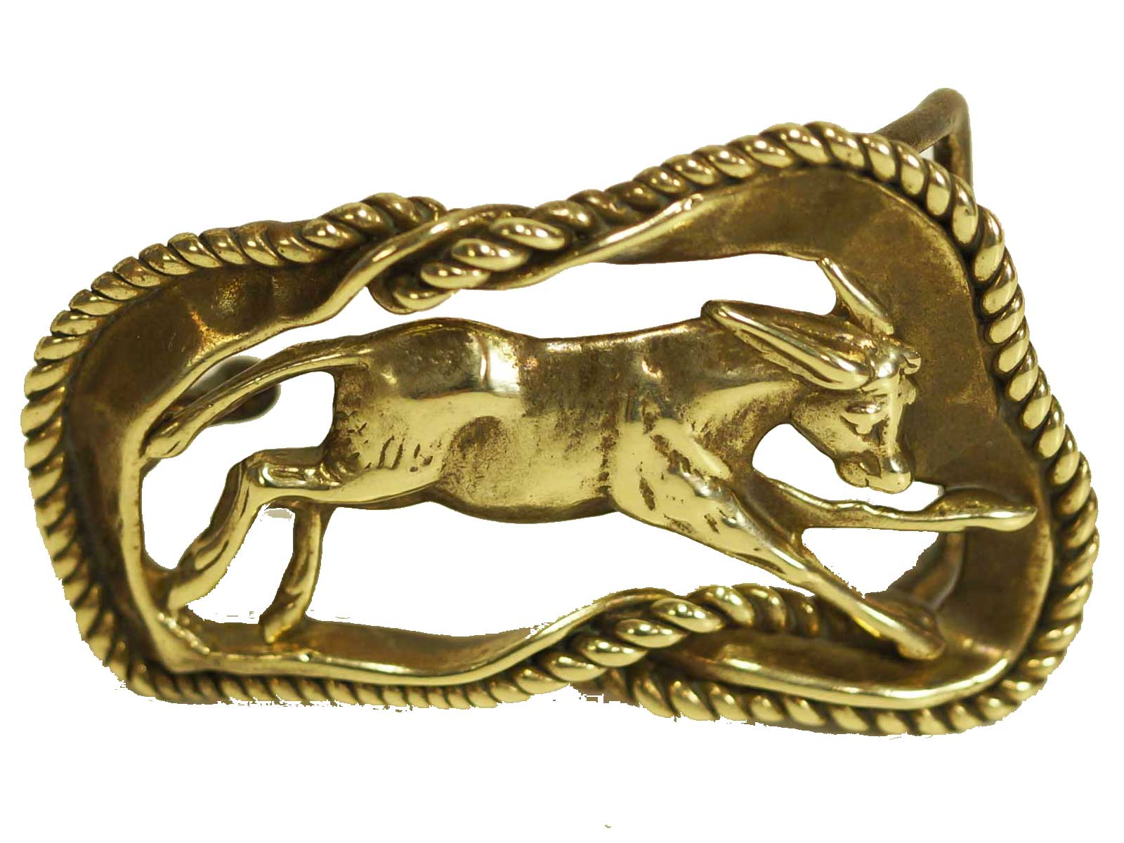 Solid brass rodeo steer calf with rope border belt buckle