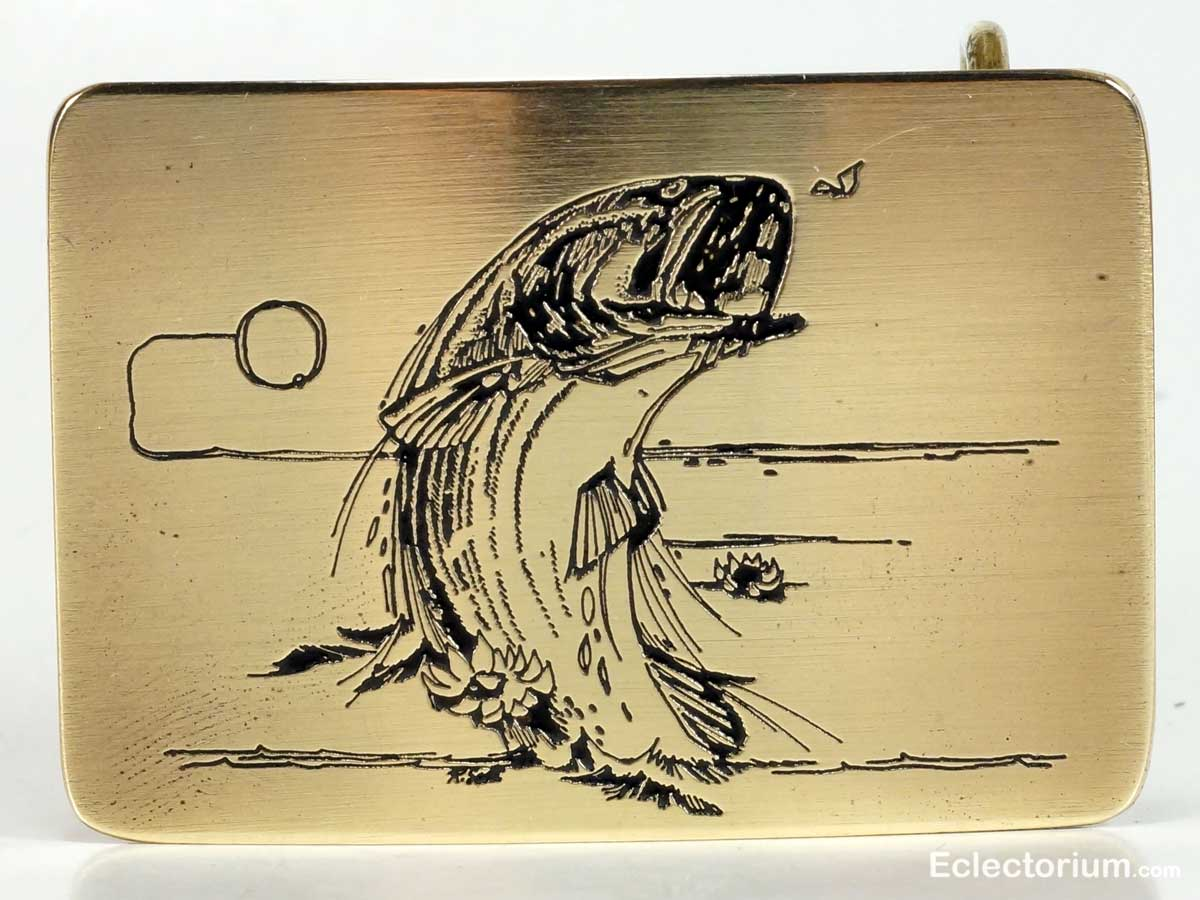 Trout Fish etched into Ampersand Brass buckle