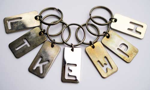 Solid brass initial key ring