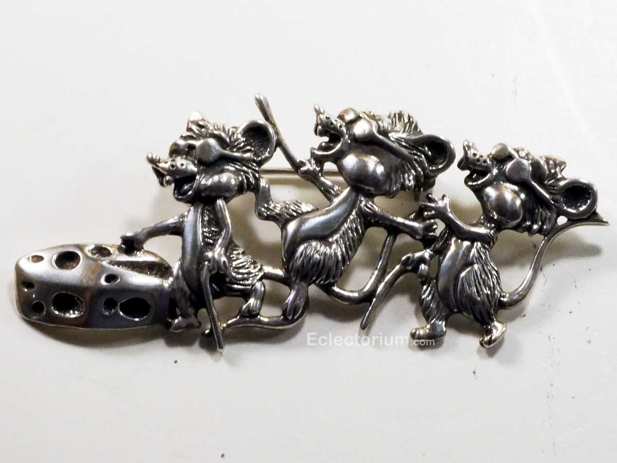 Sterling Silver Three Blind Mice Pin Brooch