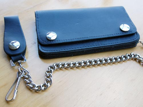 Leather Small Trucker Wallet with chain